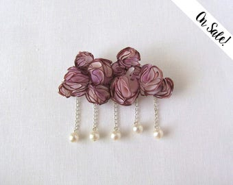 Silk brooch - mauve and blush pink silk cloud brooch with freshwater pearls ***Item on sale*** Previous price : 32 EUR