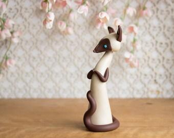 Chocolate Point Siamese Cat Sculpture by Bonjour Poupette