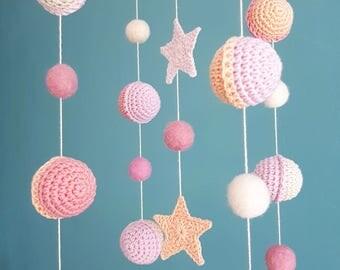 Space Baby Mobile Pastel Nursery Decor Planets Baby Girl Mobiles Hanging Pink Felt Balls Mobile Natural Newborn Gift Stars Nursery Decor