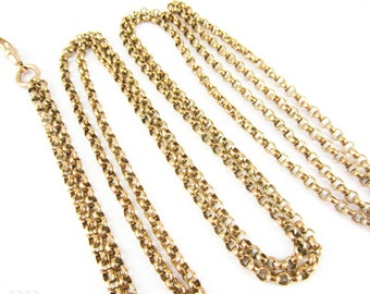 Victorian Gold Tone Long Guard Chain, Faceted Belcher Style Link Antique Necklace with Dog Clip, Circa 1800s, 142 cm / 56 inches.