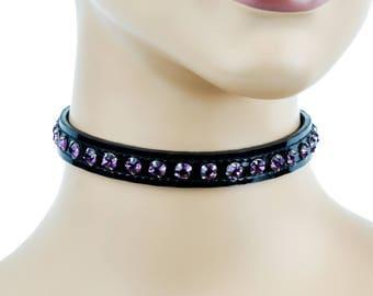 Purple Rhinestone on Black Patent Leather PVC Choker Collar Burlesque - DS-CK247P.Blk-Sapp