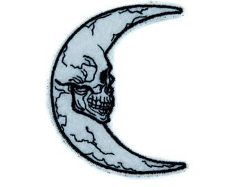 Crescent Moon Skull Luna Patch Iron on Applique Alternative Clothing Astrology Witchcraft - YDS-EMPA-053-PATCH