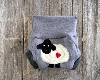 Upcycled Merino Wool Soaker Cover Diaper Cover Shorties With Added Doubler Gray With Baa Baa Sheep Applique NEWBORN 0-3M Kidsgogreen