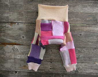 SMALL Upcycled Merino Wool Longies Soaker Cover Diaper Cover With Added Doubler Crazy Girly Patchwork /Scrappy SMALL 3-6M