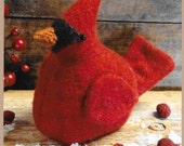 Wool Applique Pattern, Cardinal Pin Cushion, Cardinal Ornament, Winter Decor, Christmas Decor, Cottonwood Creations, PATTERN ONLY