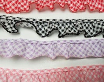 Ruffled red gingham cotton bias trim for baby blankets,couture,  home decor, 41 yards wholesale