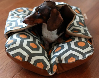 Dog Bed, BUNBED w/ COVER, Dog Burrow Bed, Pocket Bed, Orange Geometric, Bun Bed, Dachshund, Small Dogs, Hot Dog Bed - The Ominous Cloud