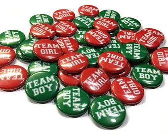 """Red and Green Team Pin Back Buttons - 1"""" Buttons - 1.5"""" Buttons - 2.25"""" Buttons, Gender Reveal Baby Shower, Christmas Baby Shower, Team Xmas"""
