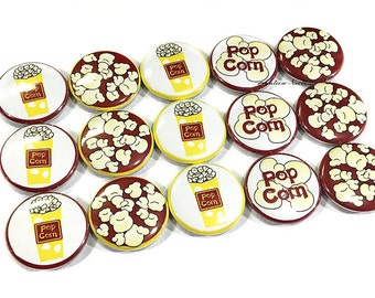 "Popcorn, 1"", Button, Popcorn Party, Popcorn Party Favor, Popcorn Decor, Popcorn Pin, Popcorn Flatback, Movies, Slumber Party, Popcorn Badge"
