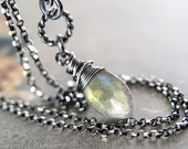Small Labradorite Pendant Necklace, Dark Sterling Silver Layering Necklace, Genuine Labradorite Necklace, Wire Wrap Semiprecious Jewelry