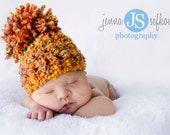 Rainbow Pom Hat Orange Green Pink Yellow Purple Newborn Baby Photography Prop