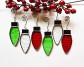 Stained Glass Christmas Lights Ornaments- in Red, Clear, Green Textured Glass