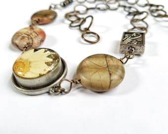 Katarina - Earth Tone Picasso Jasper and Glass Flower Necklace on an Antique Bronze Chain