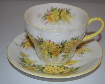 Royal Albert cup and saucer Laburnum Blossom Time Series yellow floral - tea cup
