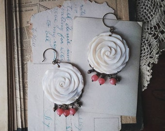 Flower Chandelier Earrings, Beaded Boho Chic Dangle Earrings, White, Pink, and Gold Earrings for Women