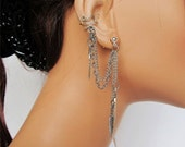 On Sale Non Pierced Ear Cuff Wrap Double Chain Silver Feather and Earrings