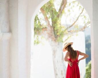 Linen Dress / Red Dress/Beach Wedding/Long Linen Dress/ Summer Dress / Pure Linen / Women's Dresses/ Linen Wedding Dress/.