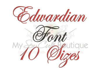 Edwardian Script Fonts Machine Embroidery BX Monogram Designs - Script Monogram Font Embroidery Design - 10 Sizes Included