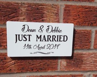 shabby chic personalized just married wedding  free standing sign plaque