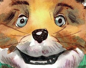 Fantastic Mr. Fox - Watercolor - Wes Anderson