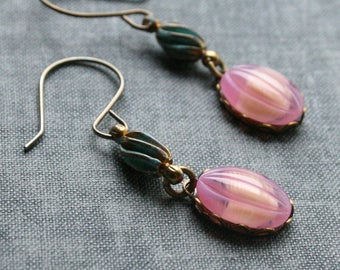 Patina and Pink Earrings