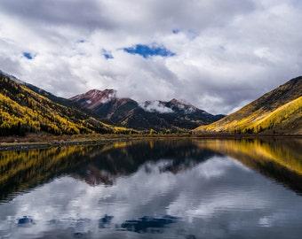 Crystal Lake Red Mountian Aspens, Colorado Art, Colorado Photography, Mountain Art, Aspen Tree, Rustic, Country, Fine Art Color Photograph