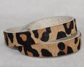 Leather Wrap  Bracelet,  Hair on Hide Leopard Print Genuine Leather