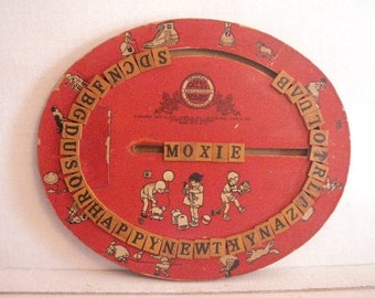 1920s Cress Board Educational Spelling Word Alphabet Device Toy Game