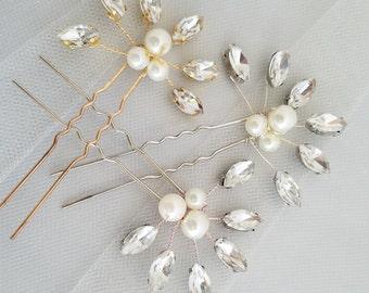 Gold Pearl Hair Pin, Crystal Hair piece, Silver pearl Hairpin, Bridal Hair Comb Accessory, Ivory Pearl Wedding Hair comb {Athena Hairpin}