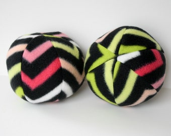 Dog Toy Ball Extra Large Black Pinks Green Chevron-big dog toy, squeaky toy, squeaker, fleece, soft, Great Dane, chew toy, catch, inside toy