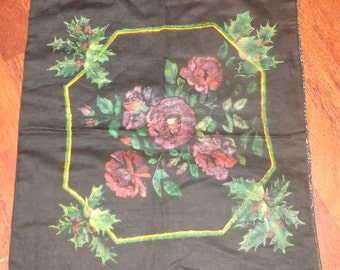 Vintage Pillowcover Roses Holly Berries Black Background Paisley Backing Unused Mint Condition