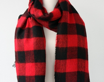 Red plaid scarf Scottish scarf buffalo plaid tartan scarf lumberjack scarf christmas gift for him mens accessories unisex gift for her