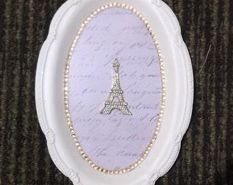 Paris, Eiffel tower, wall hanging, repurposed tin vintage, tan, gold shabby white