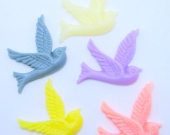 5PCS - Resin Bird Cabochons 26x28mm - 5 Color Sampler Pack - Jewelry Findings by ZARDENIA