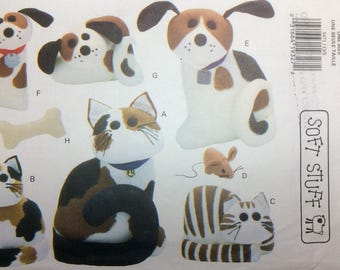 Sewing Pattern Soft Stuff Cats and Dogs Toys Decorative Stuffed Animals Uncut 1994 Bone Mosuse