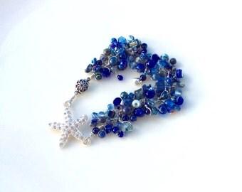 blue hues. lapis lazuli bracelet. Starfish focal bead / beaded wire wrapped dark blue beaded uniquenecks bracelet