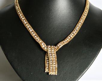 Vintage mesh necklace.  Crystal mesh necklace.  Vintage jewellery.
