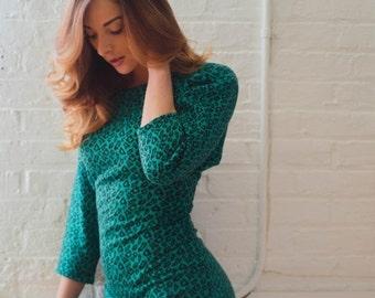 Birthday Sale - Vintage 1990's Animal Print Knit Dress
