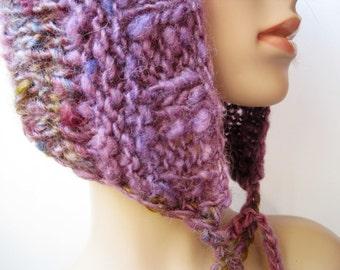 Womens Handknit Wool Pixie Hat / Multi-color Winter Wear / Purple Plum Brown