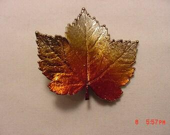 Vintage Shiney Metallic Maple Leaf Brooch   16 - 783