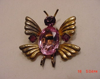 Vintage Real Jelly Belly Sterling Butterfly Dress / Fur Clip 16 - 843