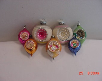 7 Vintage Mercury Glass Indent Christmas Tree Ornaments  17 - 622