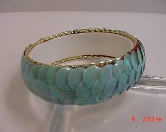 Vintage Blue Aurora Borealis Sequin Bangle Bracelet  17 - 651