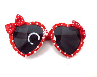 Red Pearl Polka Dot Minnie Mouse Inspired Heart Shaped Sunglasses
