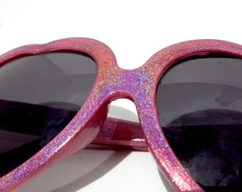 Light Pink Holographic Heart Shaped Sunglasses