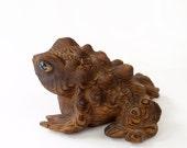 Vintage Cryptomeria - Japanese Carved Wood Frog Toad