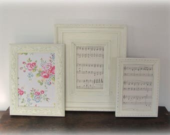 Picture Frames Set, Antique White Picture Frames, Shabby Chic Wedding or Nursery Frames