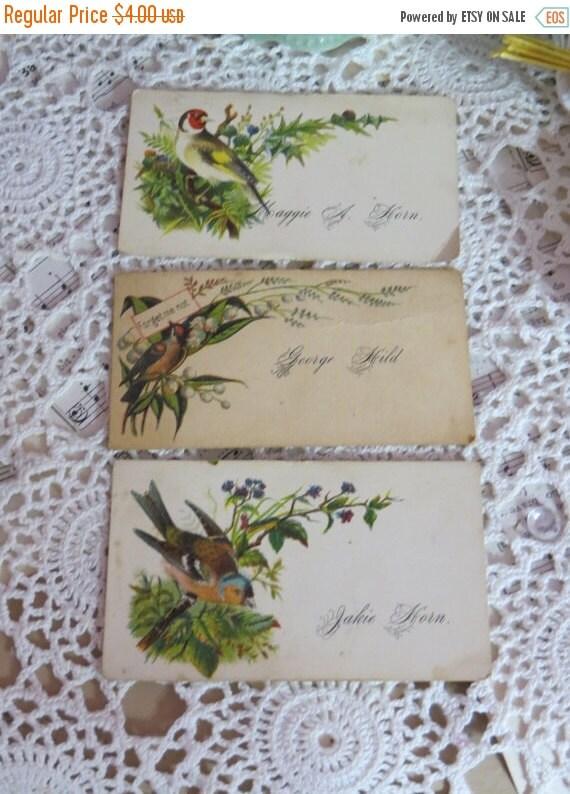 ON SALE Antique Vintage Victorian Escort-Calling Cards-Scrap-Set of 3-Birds-Ephemera