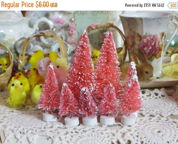 ON SALE Beautiful Pretty Pink Pastel Easter-Bottle Brush Tree-Decoration-Putz-7 piece set