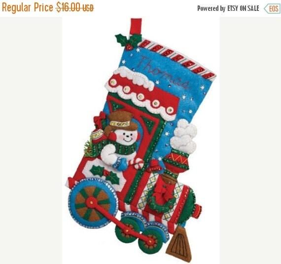 "ON SALE Bucilla All Aboard ~ 16"" Felt Christmas Stocking Kit #86435 Frosty Snowman Train"